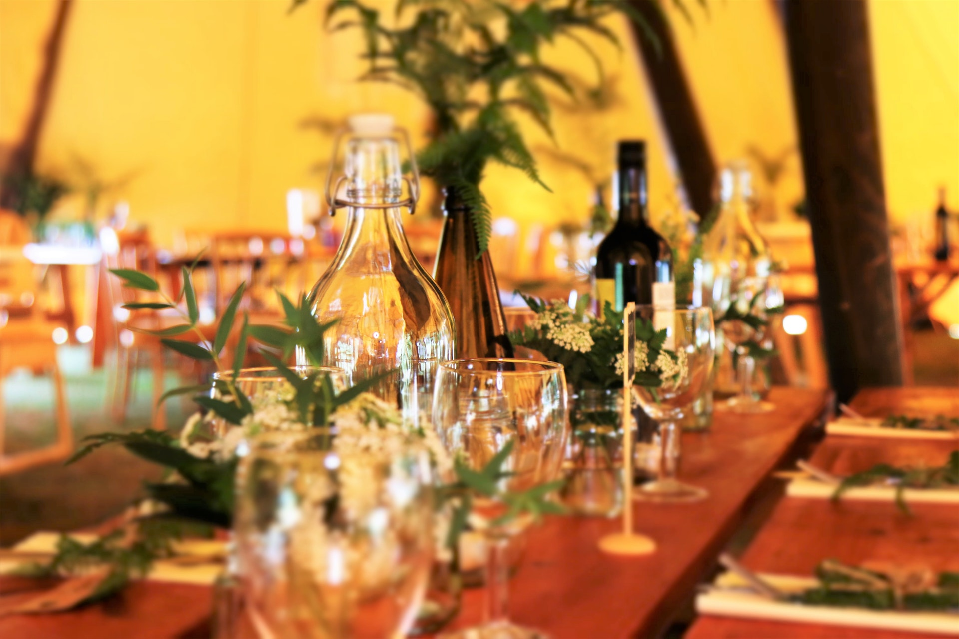 Table laid out for an event